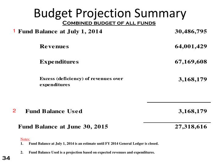 Budget Projection Summary