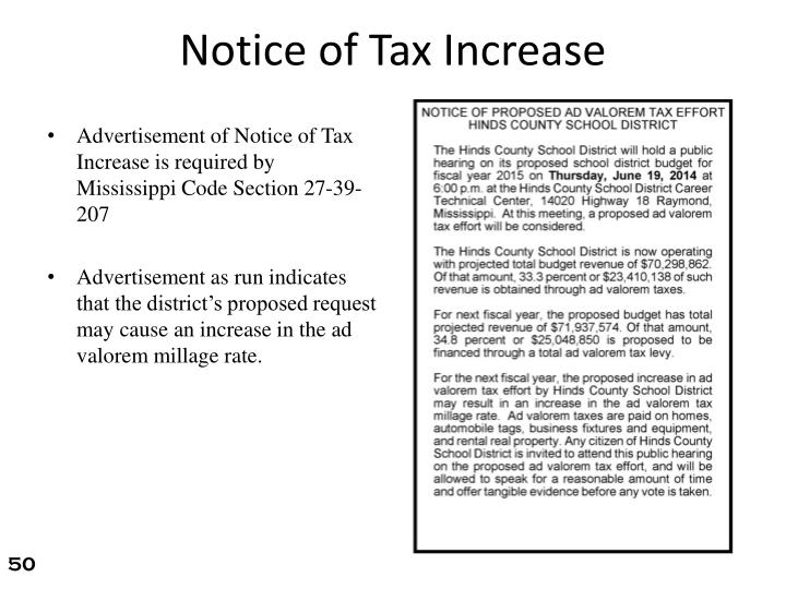 Notice of Tax Increase