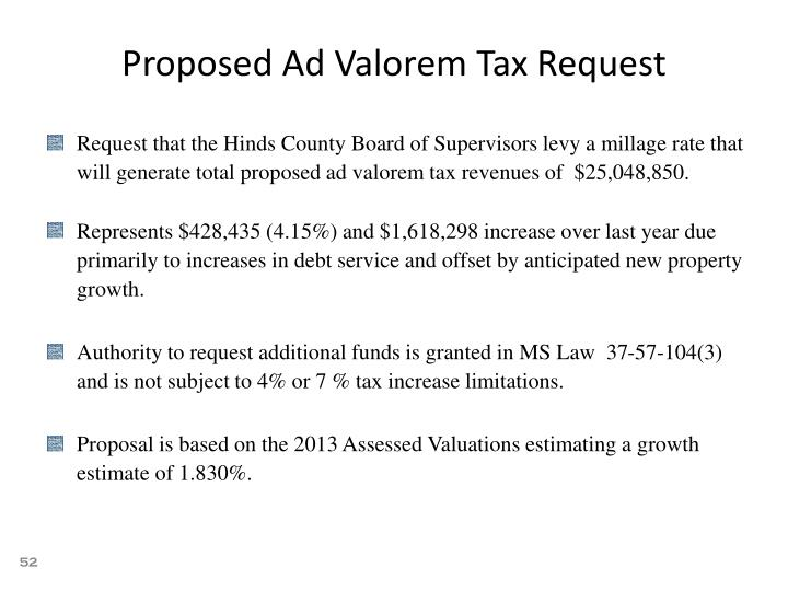 Proposed Ad Valorem Tax Request