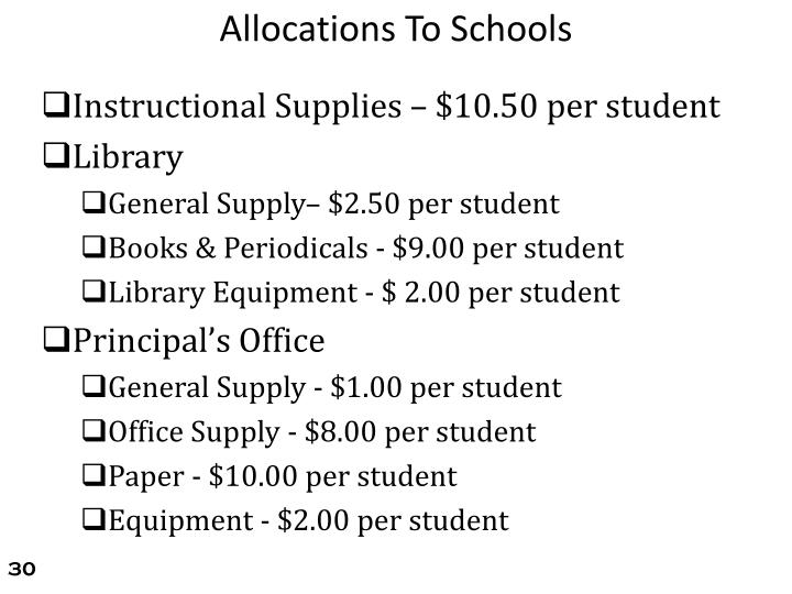 Allocations To Schools