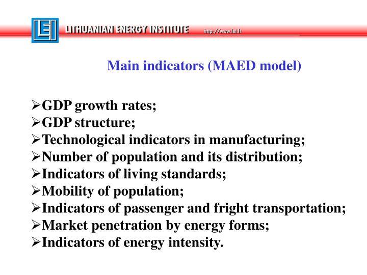 Main indicators (MAED model)