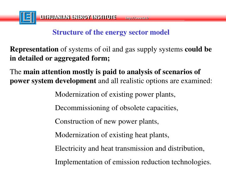 Structure of the energy sector model