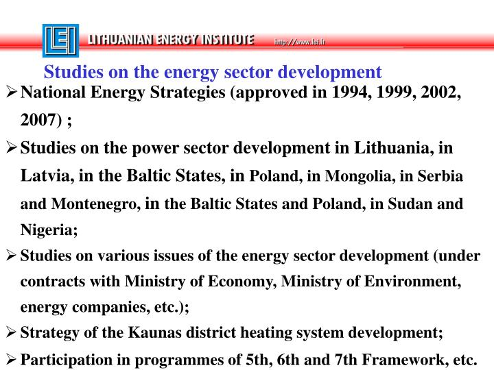 Studies on the energy sector development