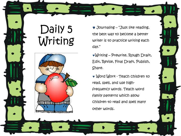 """Journaling – """"Just like reading, the best way to become a better writer is to practice writing each day."""""""
