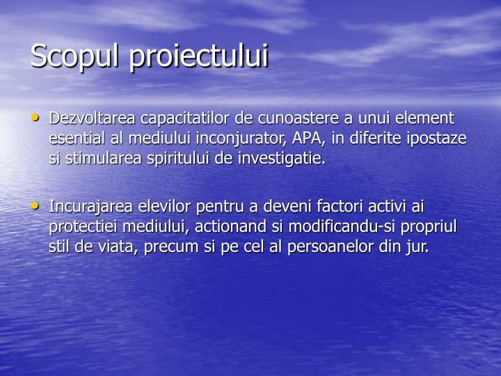 Scopul proiectului