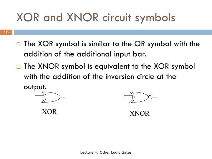XOR and XNOR circuit symbols