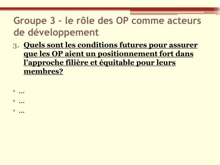 Groupe 3 – le rôle des OP comme acteurs de développement