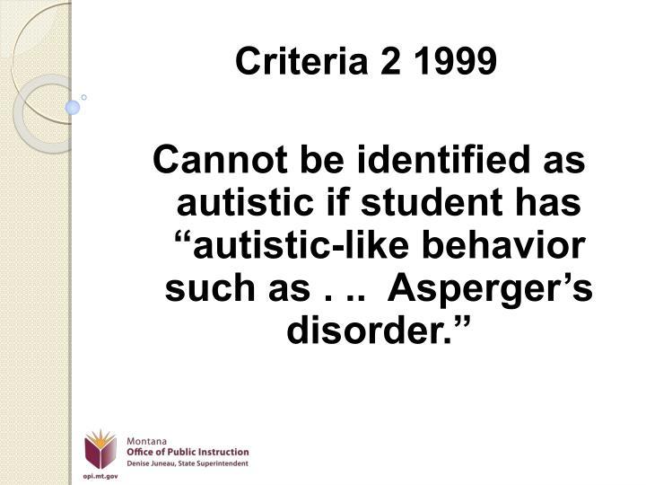 Criteria 2 1999