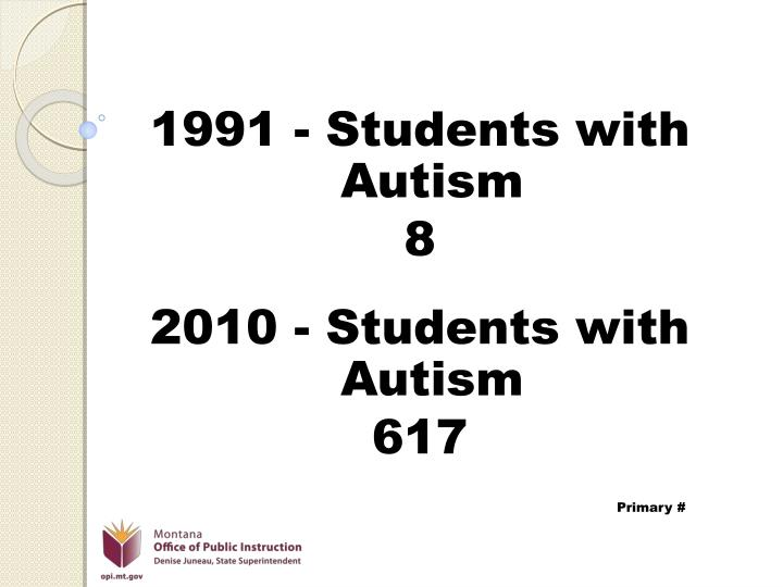 1991 - Students with Autism