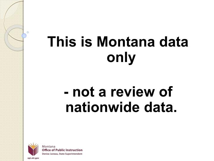 This is Montana data only