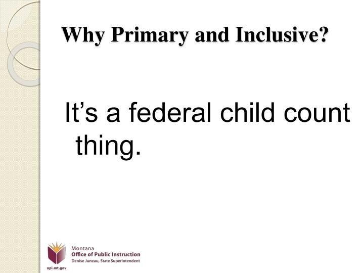 Why Primary and Inclusive?