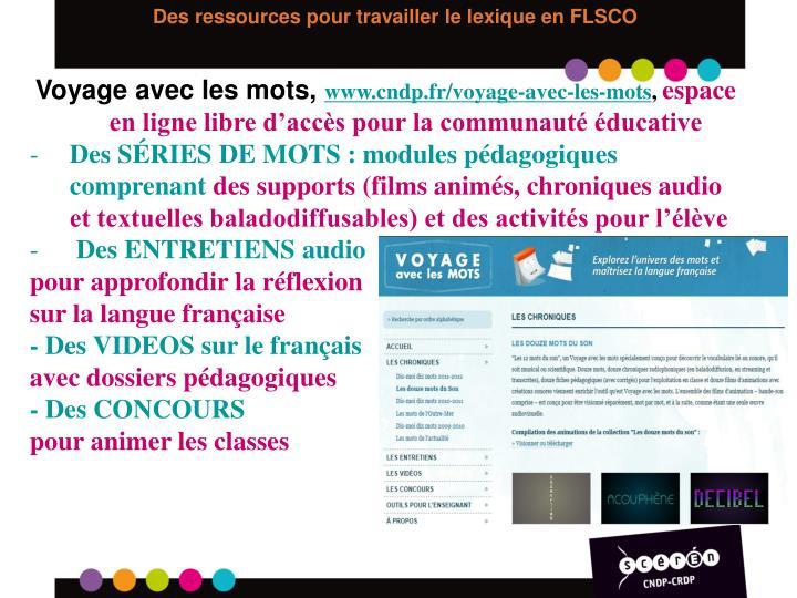 Des ressources pour travailler le lexique en FLSCO