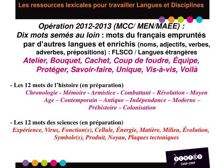 Les ressources lexicales pour travailler Langues et Disciplines