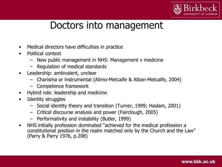 Doctors into management