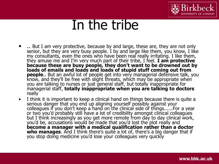 In the tribe