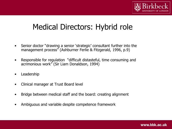 Medical Directors: Hybrid role