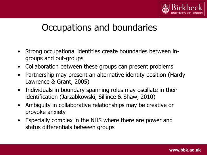 Occupations and boundaries
