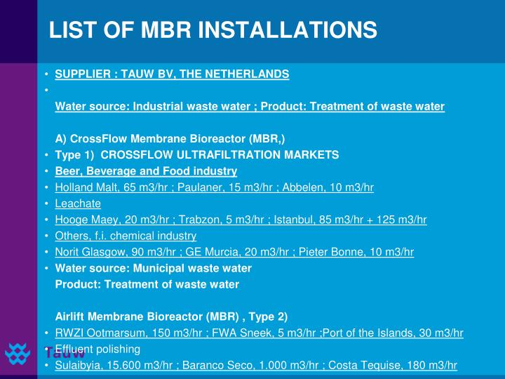 LIST OF MBR INSTALLATIONS