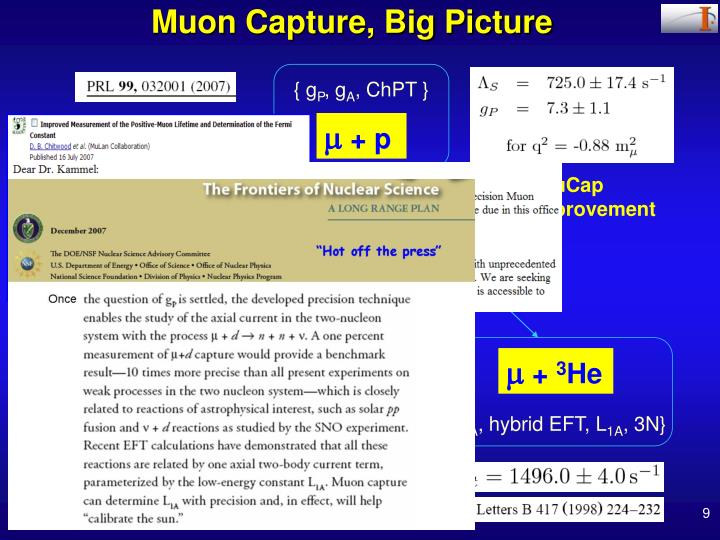 Muon Capture, Big Picture