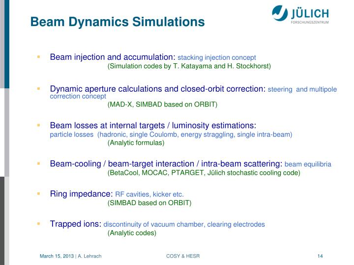 Beam Dynamics Simulations