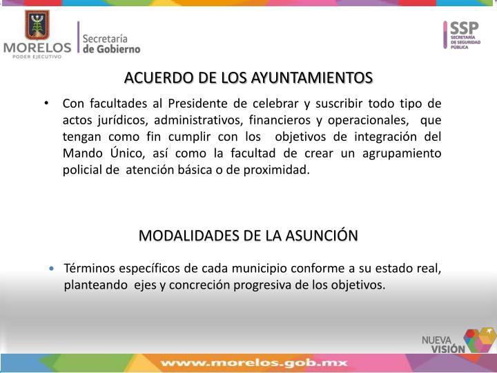 ACUERDO DE LOS AYUNTAMIENTOS