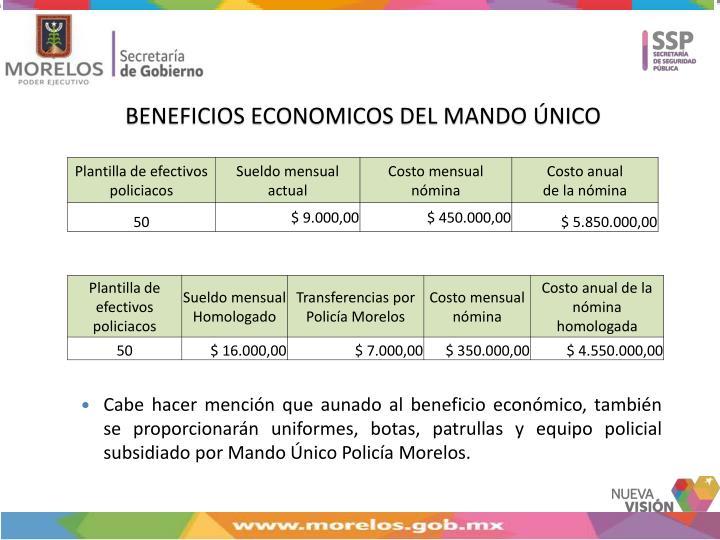 BENEFICIOS ECONOMICOS DEL MANDO ÚNICO