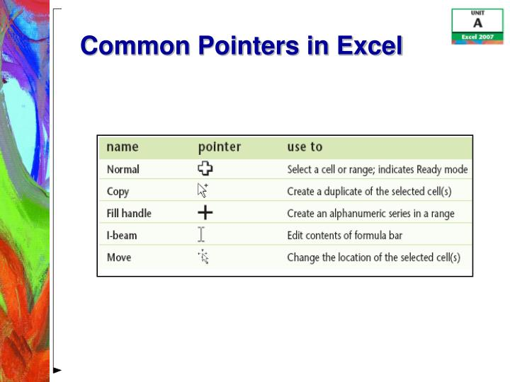 Common Pointers in Excel