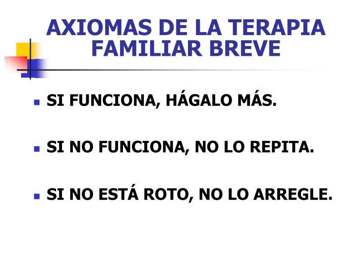 AXIOMAS DE LA TERAPIA FAMILIAR BREVE