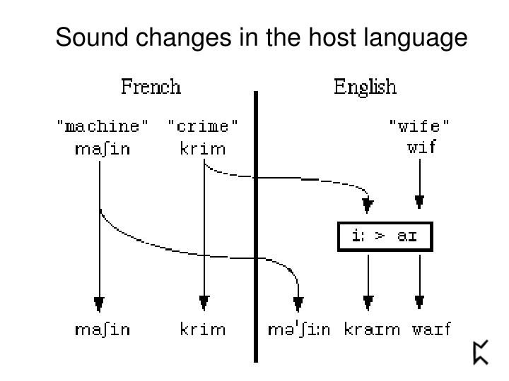 Sound changes in the host language