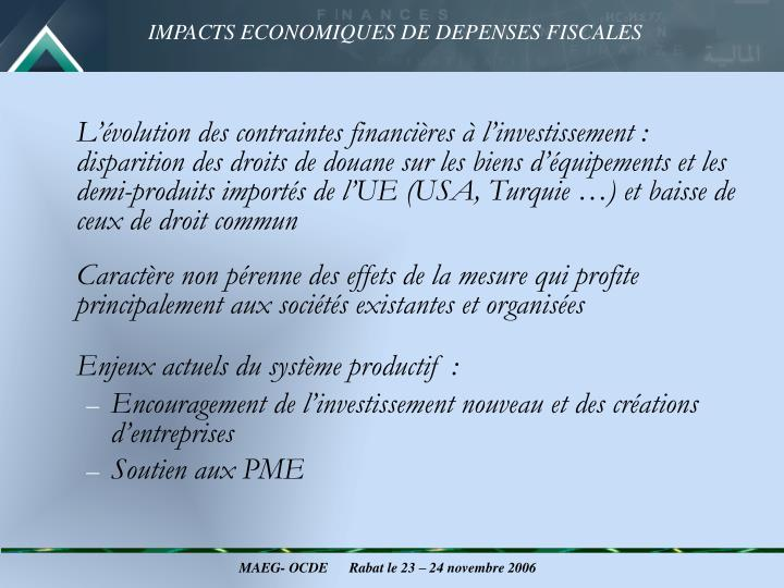 L'évolution des contraintes financières à l'investissement : disparition des droits de douane sur les biens d'équipements et les demi-produits importés de l'UE (USA, Turquie …) et baisse de ceux de droit commun