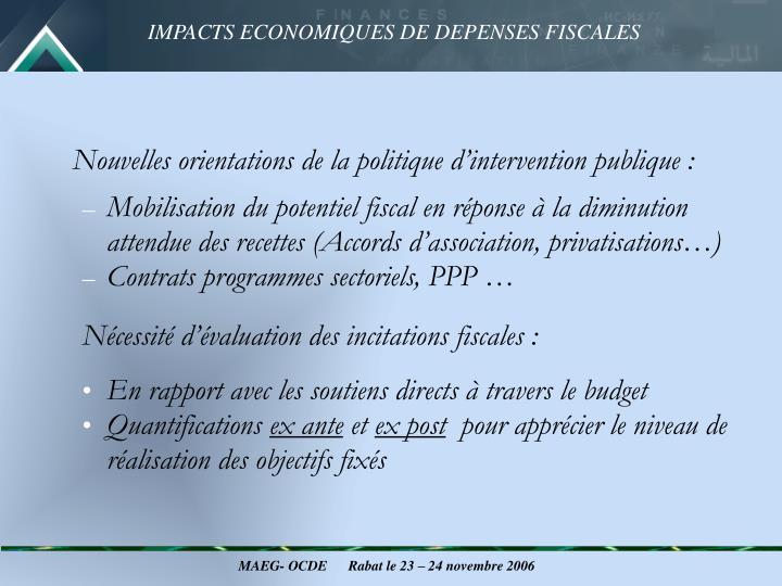 Nouvelles orientations de la politique d'intervention publique :