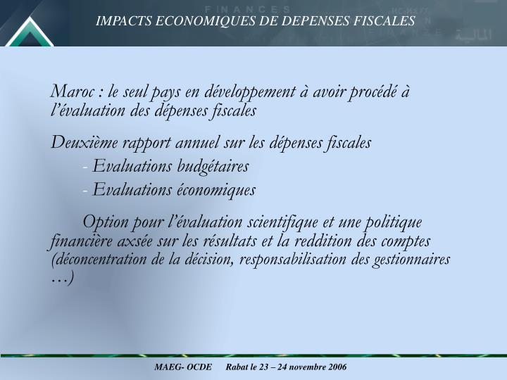 Maroc: le seul pays en développement à avoir procédé à l'évaluation des dépenses fiscales