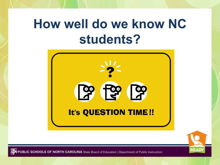 How well do we know NC students?