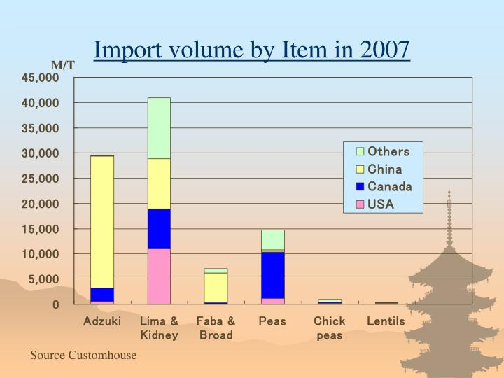 Import volume by Item in 2007