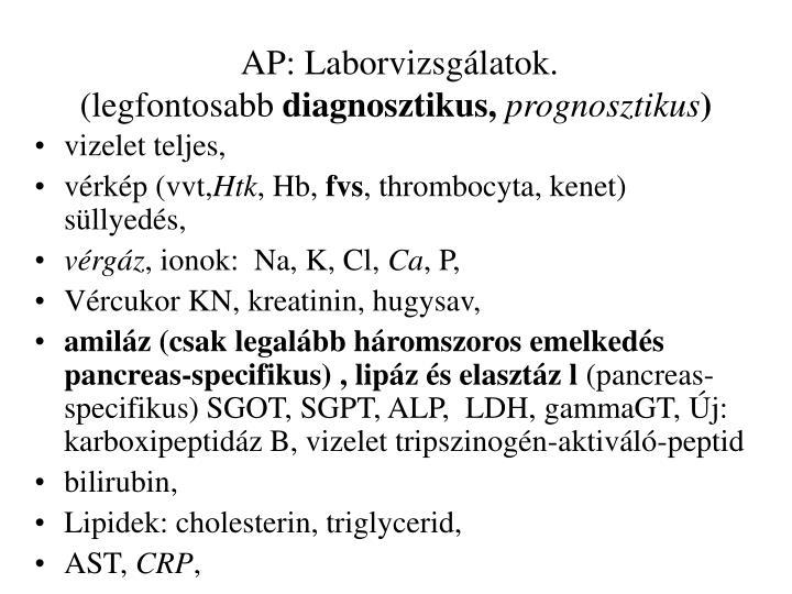 AP: Laborvizsgálatok.