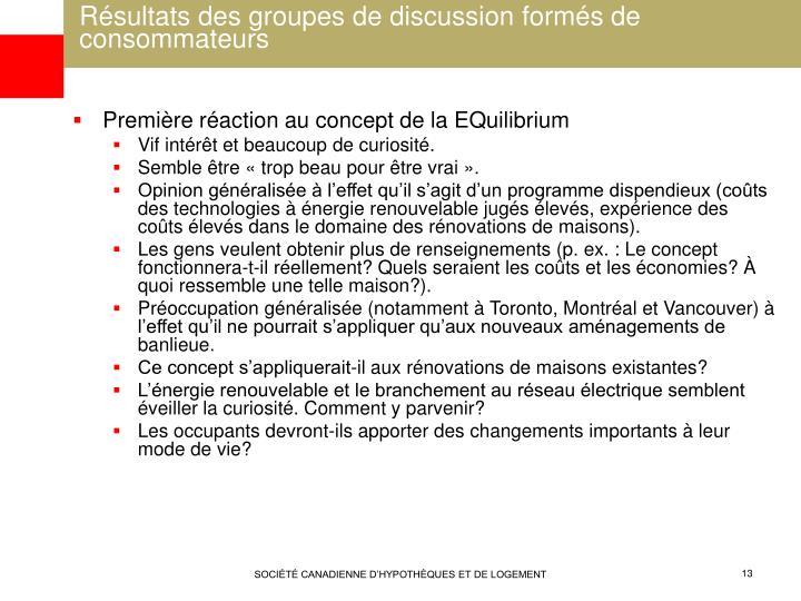 Résultats des groupes de discussion formés de consommateurs
