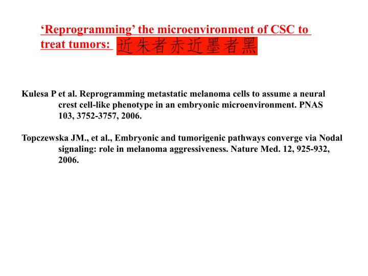 'Reprogramming' the microenvironment of CSC to