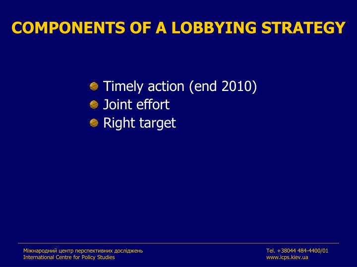 COMPONENTS OF A LOBBYING STRATEGY