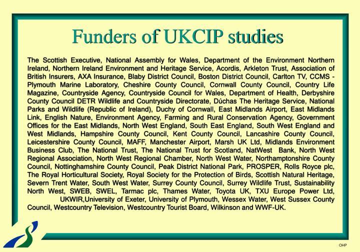 Funders of UKCIP studies