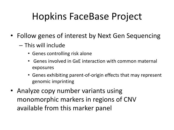 Hopkins FaceBase Project