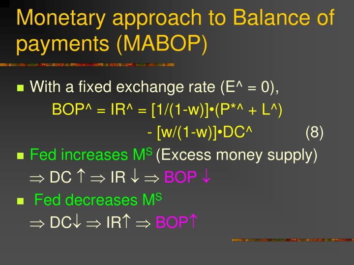 Monetary approach to Balance of payments (MABOP)
