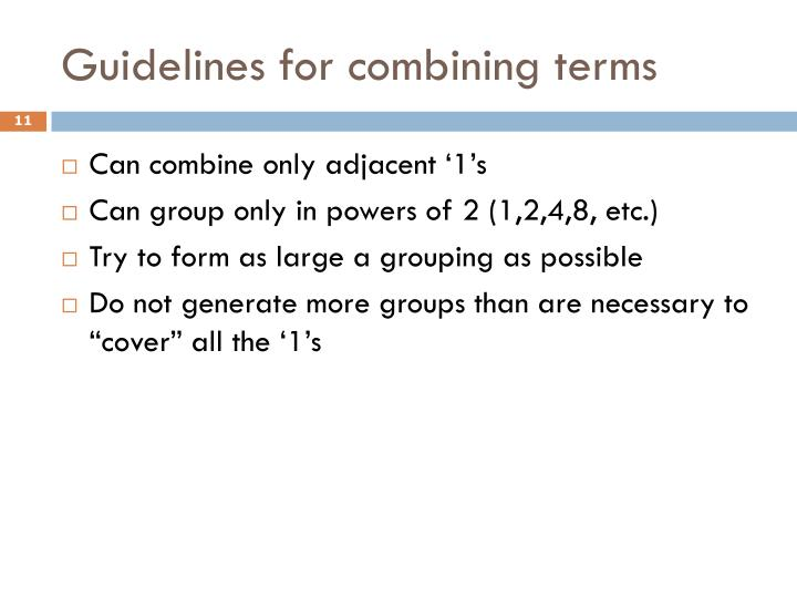 Guidelines for combining terms