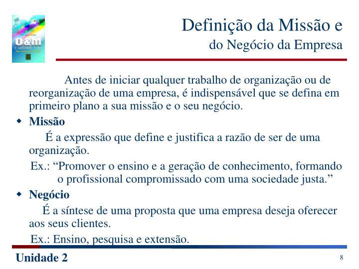 Definição da Missão e
