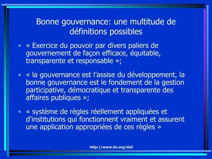 Bonne gouvernance: une multitude de  définitions possibles