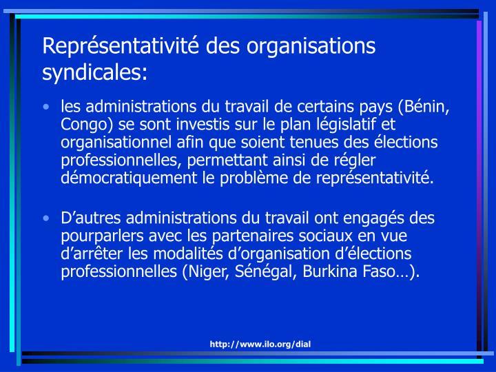 Représentativité des organisations syndicales: