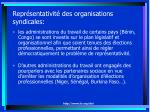 repr sentativit des organisations syndicales