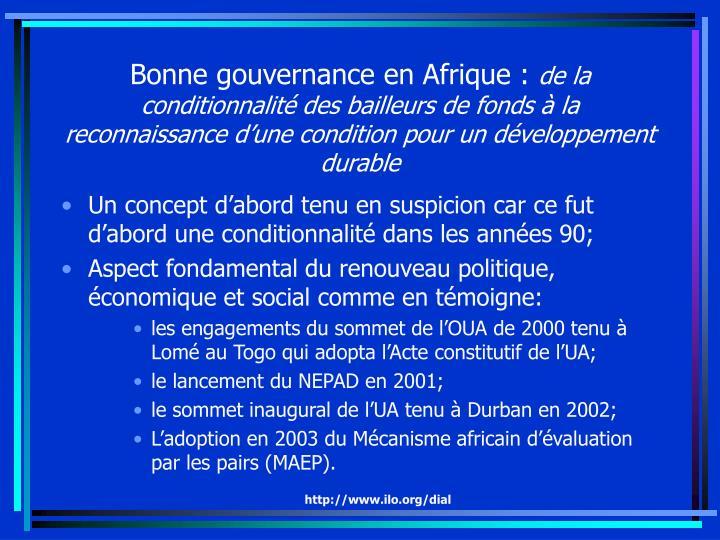 Bonne gouvernance en Afrique :