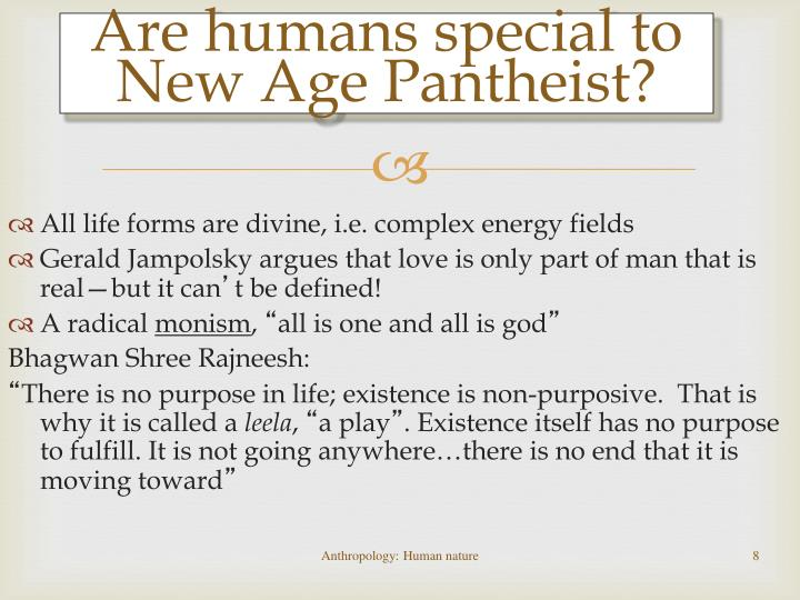 Are humans special to New Age Pantheist?