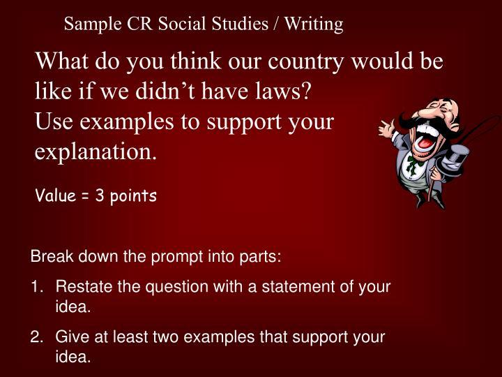 Sample CR Social Studies / Writing