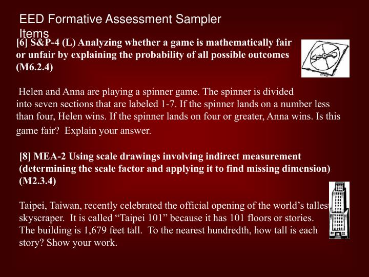 EED Formative Assessment Sampler Items